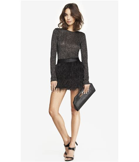 express ostrich feather fringe mini skirt in black lyst