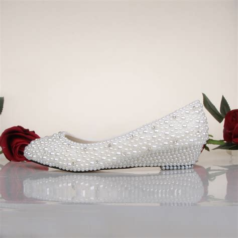 Ivory Wedding Shoes Wedge Heel by Bridesmaid Shoes White Ivory Pearl Wedding Shoes Fashion
