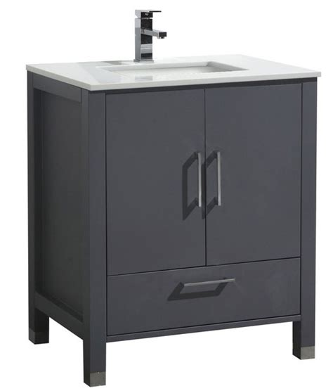 30 inch matt grey contemporary bathroom vanity with white