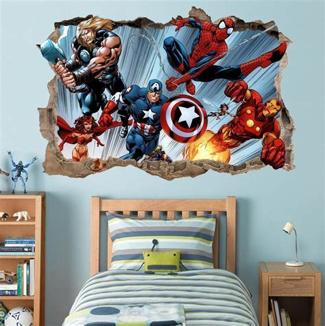 deadpool smashed wall decal graphic wall sticker home marvel super heroes smashed wall 3d decal removable wall