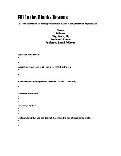 fill in the blank resume template fill in the blank resume resume