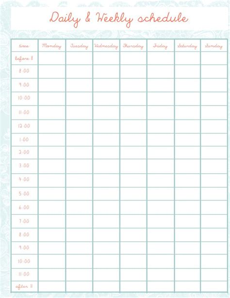 monthly time schedule template best 25 monthly schedule template ideas on