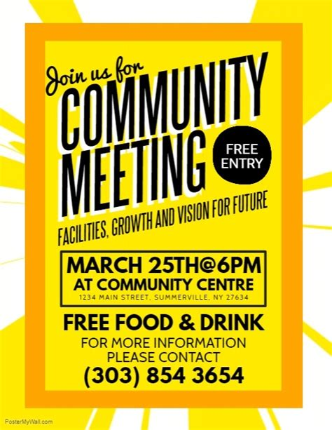 Community Meeting Flyer Template Postermywall Meeting Poster Template