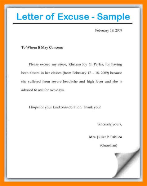 Excuse Letter Work 10 Exles Of Excuse Letters For Absent In School Emt Resume