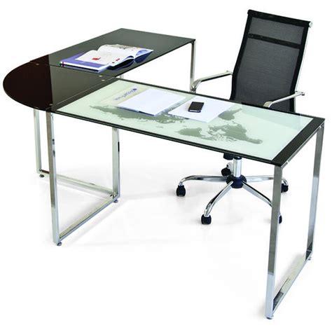 scrivania vetro temperato scrivania angolare world con foto mappamondo in metallo