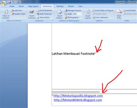 langkah membuat footnote panduan sederhana microsoft office 2007 cara membuat