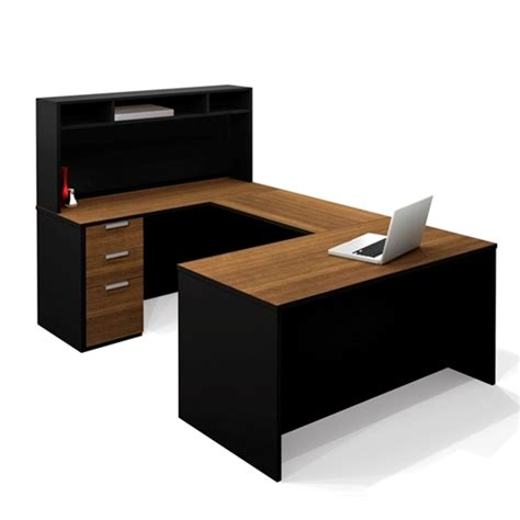 U Shaped Office Desk With Hutch Black U Shaped Bestar Office Desk With Hutch
