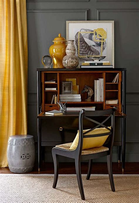yellow and gray home decor small home office design in gray and yellow decoist