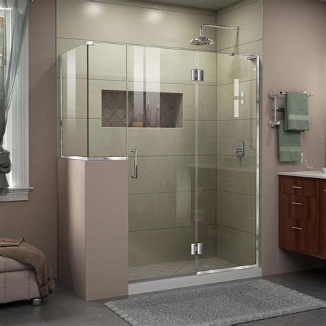 60 Frameless Shower Door Shop Dreamline Unidoor X 60 In To 60 In Frameless Chrome Hinged Shower Door At Lowes