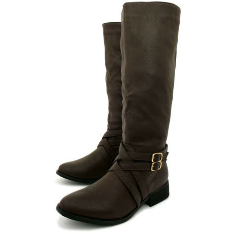 womens brown leather style biker knee high stretch buckle