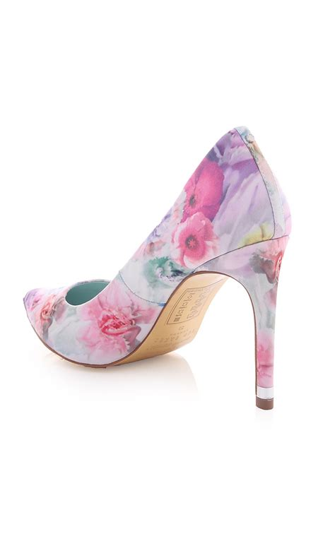 ted baker luceey high heeled floral shoe blueberries