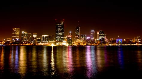 Perth City Night Lights Time Lapse Stock Video Footage Perth City Lights