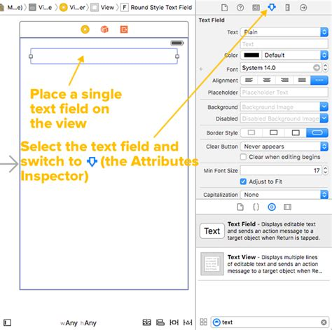 xcode text field layout ios programming trick how to use xcode to set a text