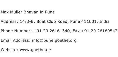 14 3 b boat club road pune max muller bhavan in pune address contact number of max