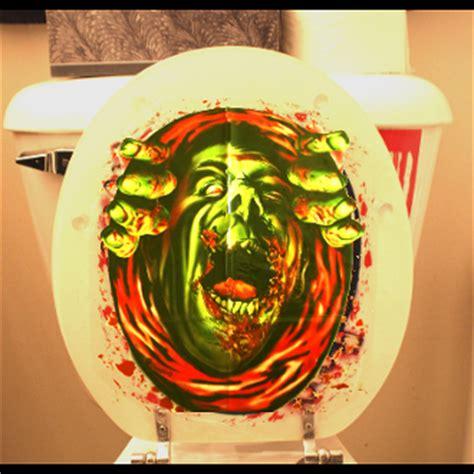 bloody horror zombie ghoul monster toilet seat lid top