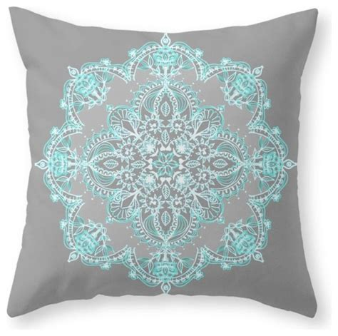 Teal And Grey Throw Pillows by Teal And Aqua Lace Mandala On Gray Throw Pillow Decorative Pillows By Society6