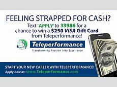 Teleperformance Strapped for Cash Contest! – X96 $50 Visa Gift Card Png