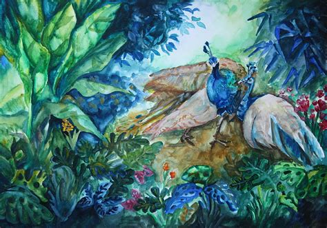 wallpaper for wall in nasik peacock in the forest painting by hermine wang