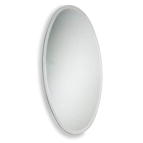 oval frameless bathroom mirror shop allied brass 21 in x 29 in oval frameless bathroom