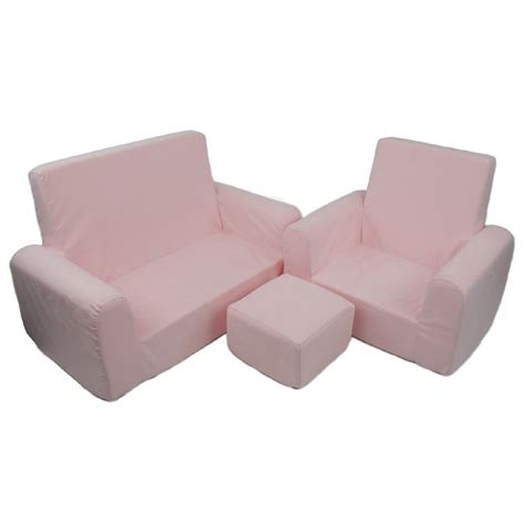 toddler sofa chair and ottoman set in light pink microsuede