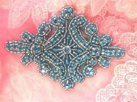 applique iron on rhinestone applique turquoise beaded iron on patch