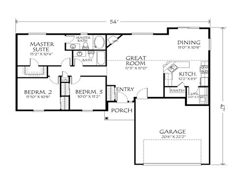 Best One Story Floor Plans by Best One Story Floor Plans Single Story Open Floor Plans