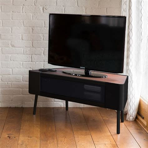 Norvik corner tv stand in walnut and black gloss with glass