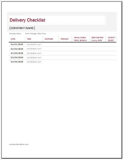 product delivery checklist template word excel templates