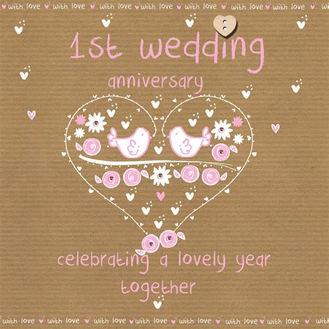 1st Year Wedding Anniversary Card by Wedding Anniversary Card Karenza Paperie