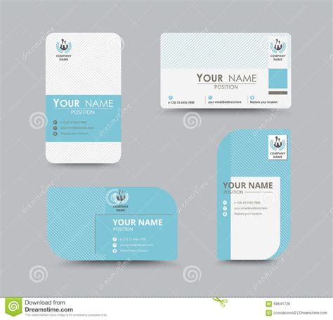 blue business contact card template design vector stock