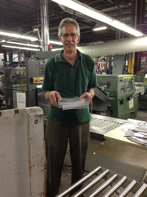 bindery machine operator retiring after 44 years the p a hutchison company