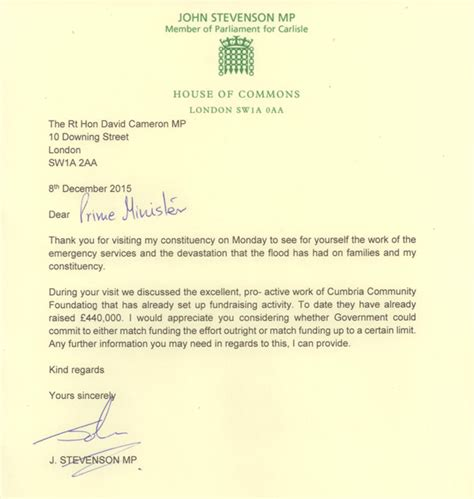 Fundraising Match Letter Chancellor Agrees To Match Flood Fundraising After Letter From Carlisle Mp Stevenson