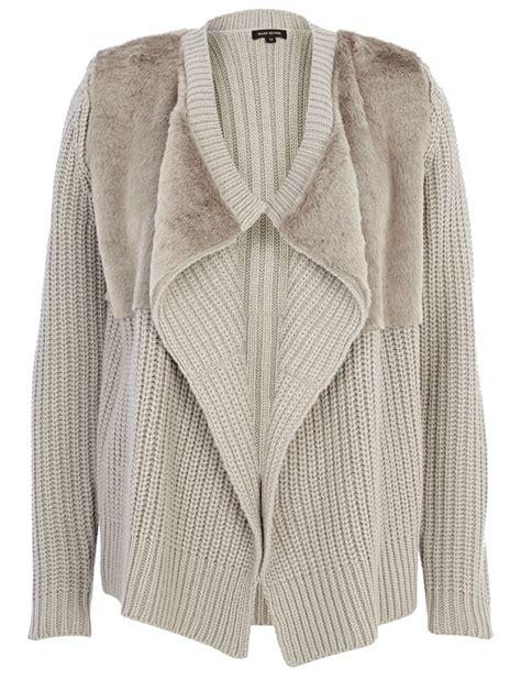 Decorative Panel Sweater White Grey 1 river island faux fur panel waterfall cardigan in gray grey lyst
