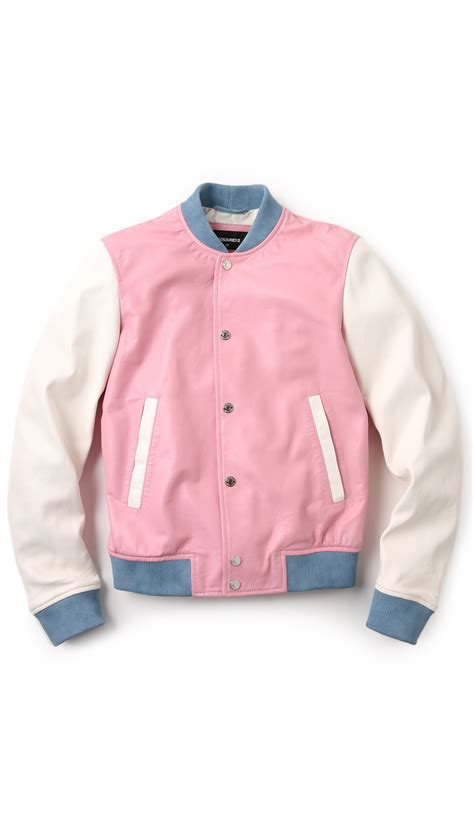 Pastel Bomber Jacket by Dsquared 178 Pastel Leather Bomber In Pink For Lyst
