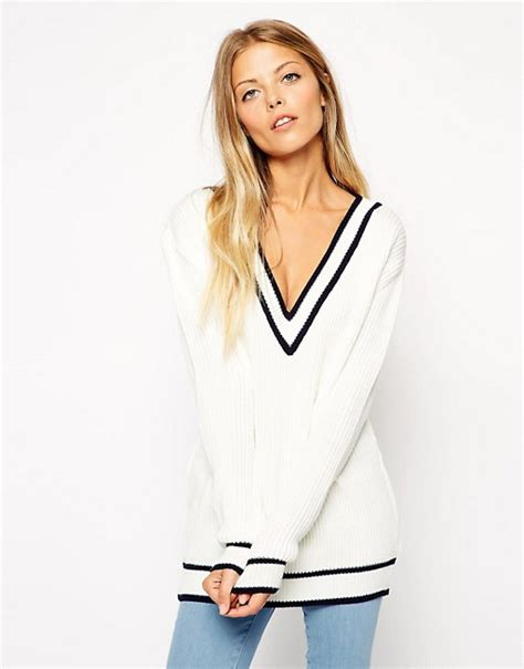 Backtothe Sweater asos asos cricket jumper with v neck and tipping