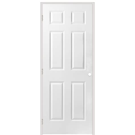 6 Panel Prehung Interior Doors Shop Reliabilt 6 Panel Hollow Textured Molded Composite Right Interior Single Prehung