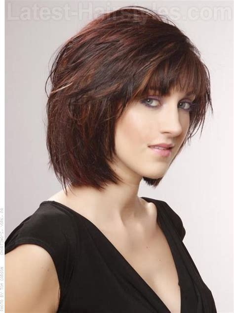 diy cut short shag medium brown red style with bangs side view this is the