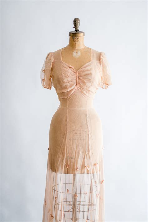 Sale Dress Import 11472 Pink Apricot 1930s pink net silk chiffon dress s g o s s a m e r