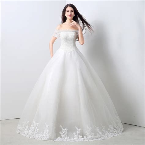 Ball Gown Off The Shoulder Drop Waist Corset Back Tulle Lace Wedding Dress
