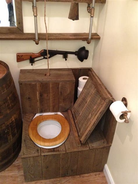 barrel sink rustic toilet opened   rustic