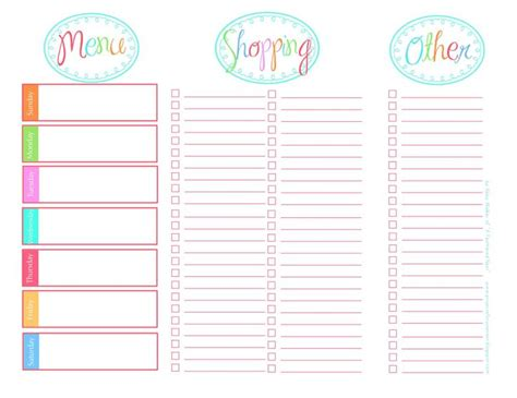 printable templates list 118 best images about meal planning grocery list