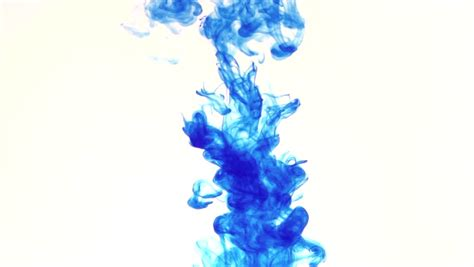 color inc blue color dissolving in clear water against white