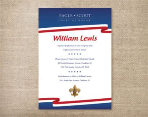 bsa blue card word template eagle scout court of honor invitations graduation