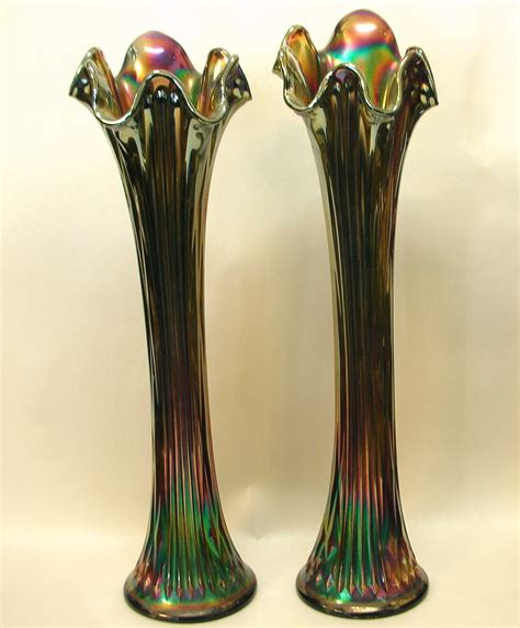 Carnival Glass Vases by Pair Of Carnival Glass Vases Carnival Glass Glass