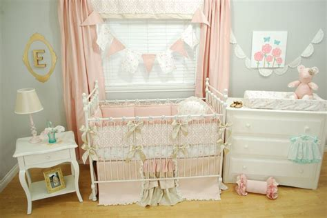 Pink And Gold Crib Bedding Set With A Marie Antoinette Shabby Chic Crib Skirt