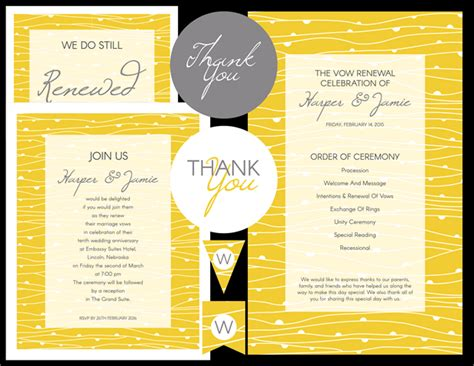 Free Vow Renewal Invitation Yellow Waves And Gray Theme Vow Renewal Invitation Templates Free