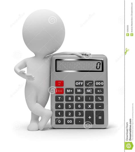 calculator x10 3 3d small people calculator stock illustration