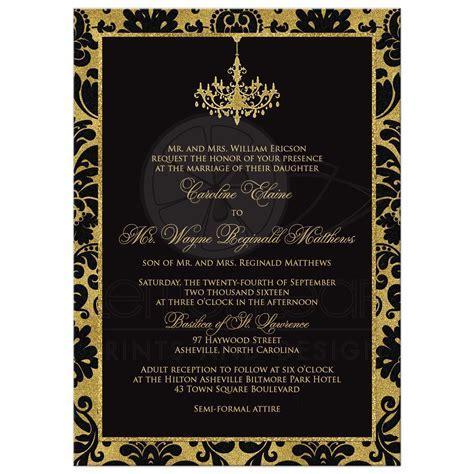 Wedding Invitation   Black Damask, Faux Gold Foil   Chandelier