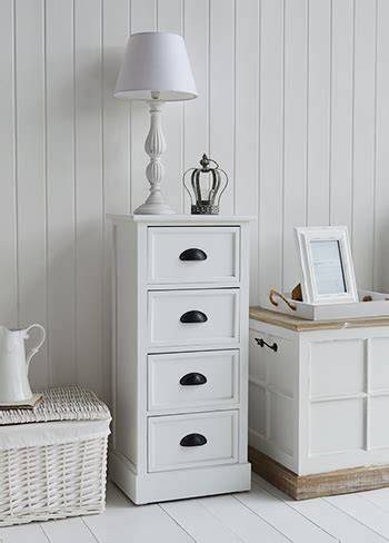 southport white furniture 4 drawer small bedside table