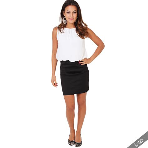 Dress Chiffon Top womens smart casual bodycon contrast mini pencil office